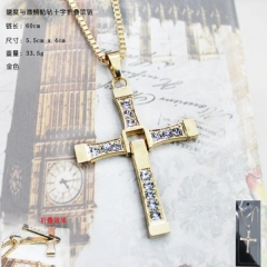 Fast & Furious Cross Gold Anime necklace