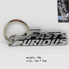 Fast & Furious Silver Anime Keychain