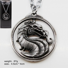 Mortal Kombat Silver Color Logo Model Rotatable Anime Necklace