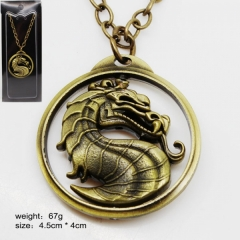 Mortal Kombat Bronze Color Logo Model Rotatable Anime Necklace