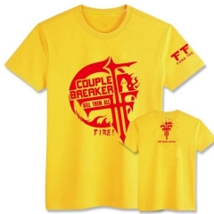 FFF Yellow Short Sleeve Anime T shirts