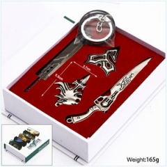 Final Fantasy Anime Keychain Necklace Sword Weapon Set