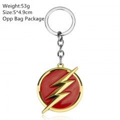 Golden Color The Flash 5*4.9CM Alloy Keyring American Super Hero Cosplay Anime House Keychain 10pcs/set