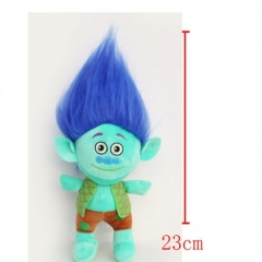 Trolls Cartoon Stuffed Doll Cute Design Blue Hair Anime Plush Toys 23CM