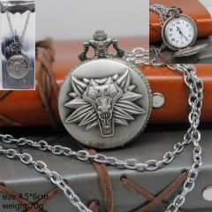 Game The Witcher Anime Fancy Silver Pocket Watch