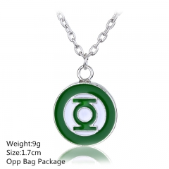 Good Sales Green Lantern Silver Necklace Top Quality Wholesale Alloy Anime Choker Set