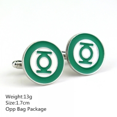 Famous Movie Green Lantern 1.7CM Alloy Cufflinks Round Shape Silver Color  Anime Cuff Button 10pcs/set
