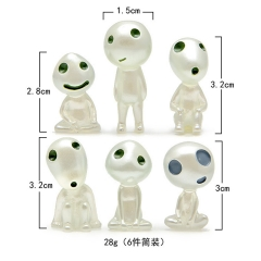 6Pcs Mononoke Hime Princess Mononoke Luminous Tree Elves Spirit Kodama Gardening Potted Decoration Micro Landscape Accessories Figures Toys Set