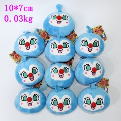 Anpanman Anime Cute Blue Wizad Keychain Soft Plush Pendant 10pcs/set