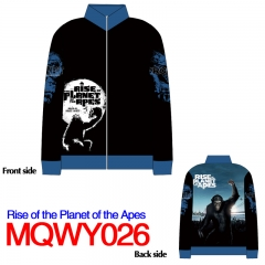 Rise of the Planet of the Apes American Action Movie Cosplay Anime Long Sleeve Warm Zipper Hoodie