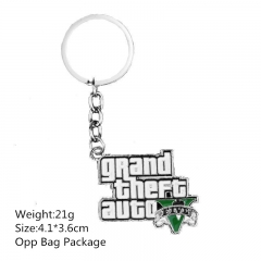 4.1*3.6CM Grand Theft Auto V Alloy Keyring Famous Game Anime Keychain 10pcs/set