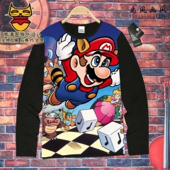 Super Mario Bro Cosplay Game Unisex Cartoon Costume Long Sleeves Anime T shirt ( S-XXXL )
