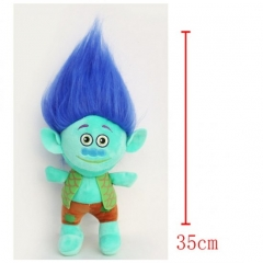 Trolls Cartoon Stuffed Doll Cute Design Blue Hair Anime Plush Toys 35CM