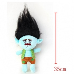 Trolls Cartoon Stuffed Doll Cute Design Black Hair Anime Plush Toys 35CM