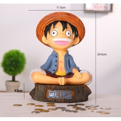 One Piece Cartoon Toys Figure Cute Luffy Anime Resin Anime Money Pot 24.5CM