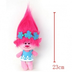 Trolls Cartoon Stuffed Doll Cute Design Pink Hair Anime Plush Toys 23CM