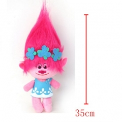 Trolls Cartoon Stuffed Doll Cute Design Pink Hair Anime Plush Toys 35CM