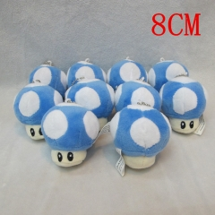 Super Mario Bro Mushroom Doll Pendant Anime Plush Toy 10pcs/set