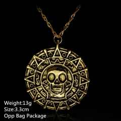Pirates of the Caribean Gold Coin Alloy Anime Necklace (10pcs/set)