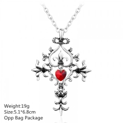Vampire Diaries Sacred Heart Silver Alloy Anime Necklace (10pcs/set)
