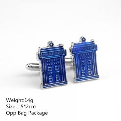 Blue Color Doctor Who 1.5*2CM Alloy Cufflinks New Arrival Products Anime Cuff Button 10pcs/set