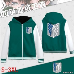 Attack on Titan Cartoon Sweatshirts Wholesale Zipper Thick Green Anime Hoodie