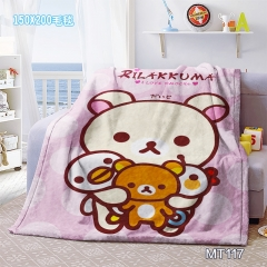 Rilakkuma Cartoon Mink Velvet Material Anime Blanket