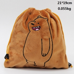 We Bare Bears Grizzly Cartoon Cute Anime Plush Drawstring Bag