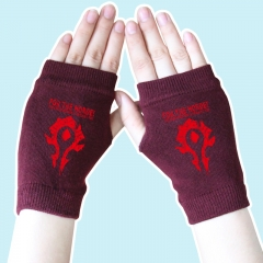 World of Warcraft Red Marks Wine Color Anime Gloves 14*8CM