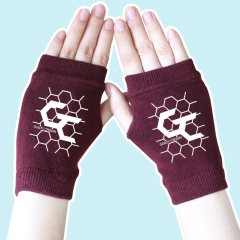 Guilty Crown Fighting Cartoon Half Finger Anime Warm Wine Knitted Gloves 14*8CM