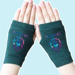 World of Warcraft Star Sky Lion Atrovirens Half Finger Anime Knitted Gloves 14*8CM