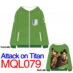 Attack on Titan Print Long Sleeve Warm Anime With Hat Hoodie