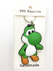 Super Mario Bro Yoshi Cartoon Pendant Keyring Handmade Game Two-side Anime PVC Keychian