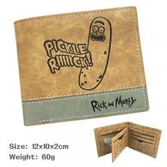 Rick and Morty Cucumber Pickle Purse Bi-fold Contrast Color Anime Short Wallet 60g