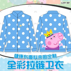 Peppa Pig Color Printing Cosplay Zipper Sweater Anime Hoodie (S-XXL)