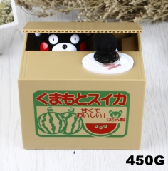 Kumamon Funny Stealing Money With Music Toy For Kid Anime Money Pot