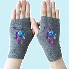 World of Warcraft Star Sky Marks Gray Anime Knitted Gloves 14*8CM