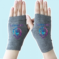 World of Warcraft Star Sky Lion Gray Half Finger Anime Knitted Gloves 14*8CM