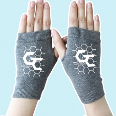 Guilty Crown Fighting Cartoon Half Finger Anime Warm Gray Knitted Gloves 14*8CM
