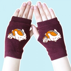 Natsume Yuujinchou Cute Fashion Wine Color Half Finger Anime Knitted Gloves 14*8CM