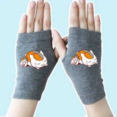 Natsume Yuujinchou Cute Fashion Gray Half Finger Anime Knitted Gloves 14*8CM