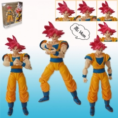 SHF Dragon Ball Z Son Goku with Red Hair Super Saiyan Cartoon Anime Action Figure Toys 16cm