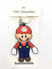 Super Mario Bro Mario Cartoon Pendant Keyring Handmade Game Two-side Anime PVC Keychian