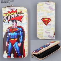 Super Man Cosplay Colorful Folding Purse Anime Long Wallet