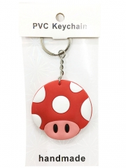 Super Mario Bro Cartoon Pendant Keyring Handmade Game Two-side Anime PVC Keychian