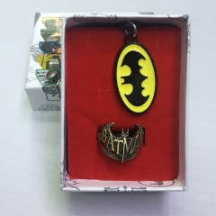 Batman Cosplay Movie Decoration Anime Necklace+Ring
