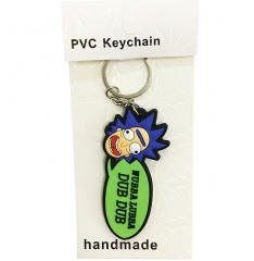 Popular Cute Rick And Morty Two Side Soft Plastic Funny Keychain  30g