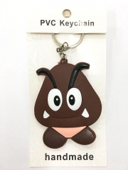 Super Mario Bro Goomba Cartoon Pendant Keyring Handmade Game Two-side Anime PVC Keychian