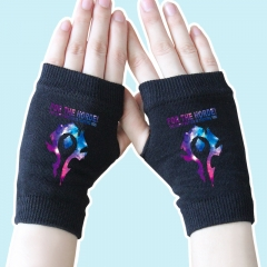 World of Warcraft Star Sky Marks Black Anime Knitted Gloves 14*8CM