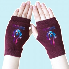 World of Warcraft Star Sky Marks Wine Color Anime Knitted Gloves 14*8CM